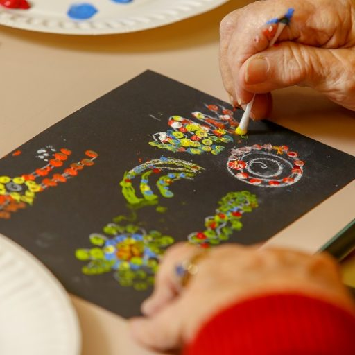 Some the artwork being created by residents during the Art Therapy Program.