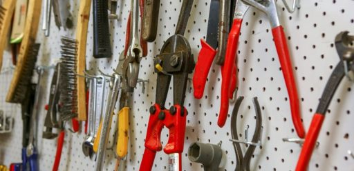 Tools on the wall at The Shed, IRT Kangara Waters.
