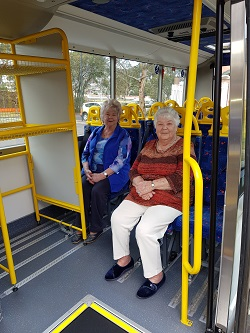 IRT William Beach Gardens' residents Valma McPherson and Betty Heidrich were on board with the customer transport review day.