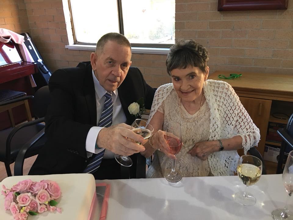 John Smith and Jess Lewis on their wedding day.