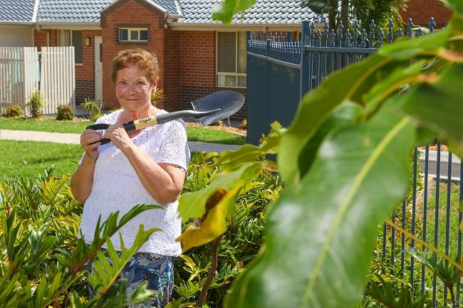 IRT William Beach Gardens resident Iris Essex in the garden.
