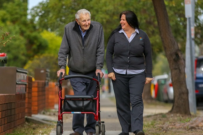 Home Care employee Tracey Kelly and customer Stan Neale out and about.
