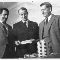 (Left to right) Noel Howard, Mr Paton and Dr Diment with a donation cheque for $1000 from Coles Store, July 1970.