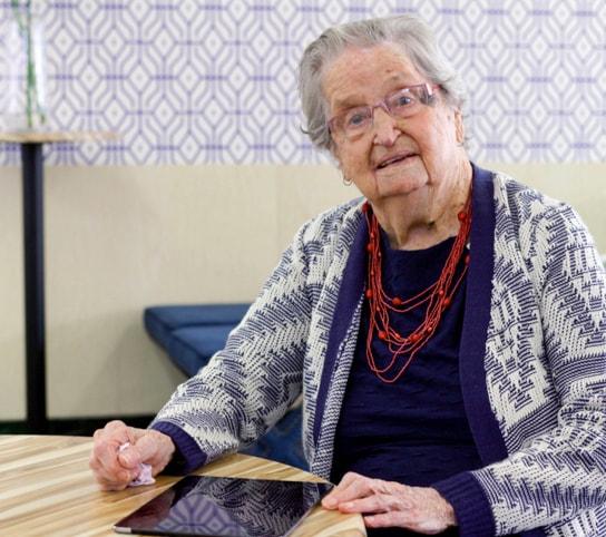 Elderly woman with ipad