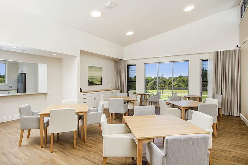 Dining area of aged care centre