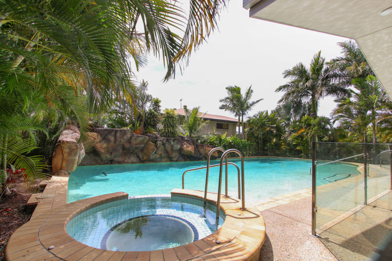 outdoor swimming pool and spa