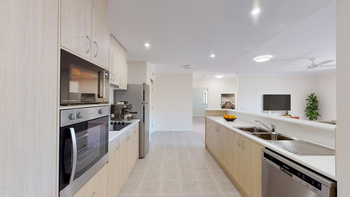 Apartment kitchen & living area