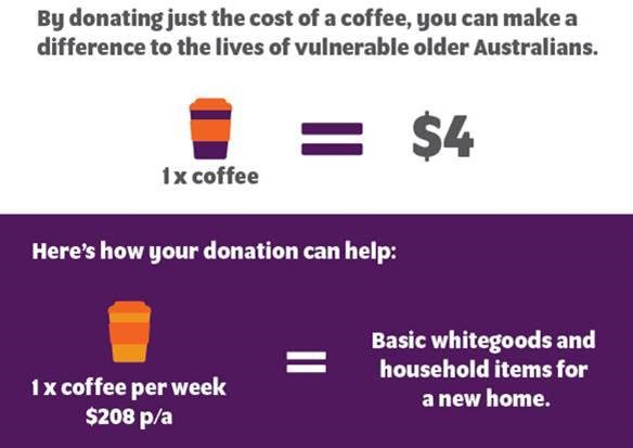 Just the cost of a cup of coffee helps someone in need
