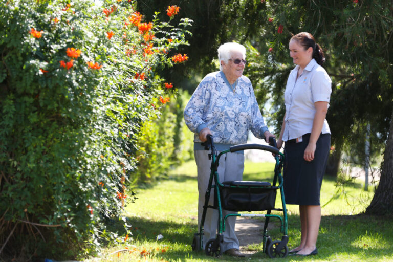 Older woman receiving home care